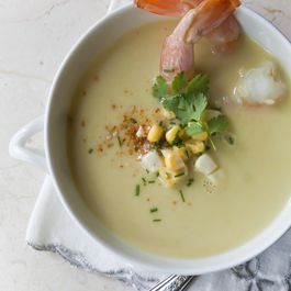 Smoked Corn, Coconut and Shrimp Soup