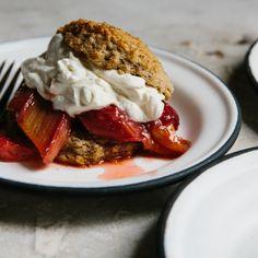 Rye Shortcakes with Roasted Strawberries and Rhubarb