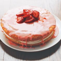 Cornmeal Cake with Mascarpone Cream and Strawberry Glaze