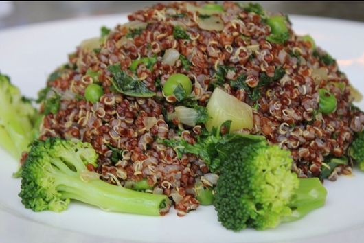 Red Quinoa Salad with Elephant Garlic and Greens