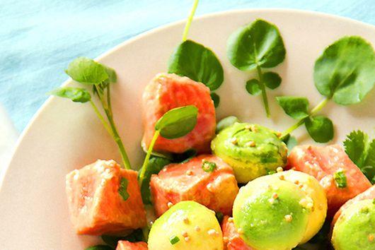 Marinated Salmon with Avocado, Watercress & Mustard Seeds