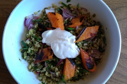 mung beans with roasted carrots and yogurt