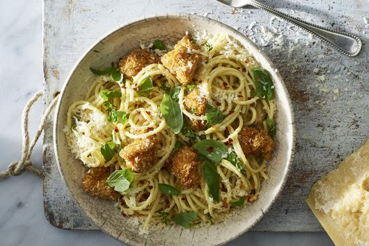 Lemony Spaghetti with Parmesan Popcorn Chicken