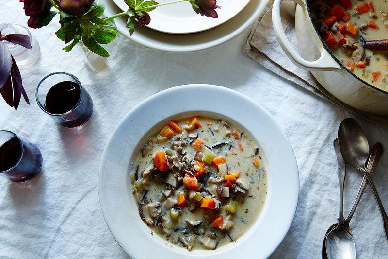 Vegan Cream of Mushroom and Wild Rice Soup