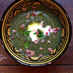 Swiss chard, asiago, and bacon soup