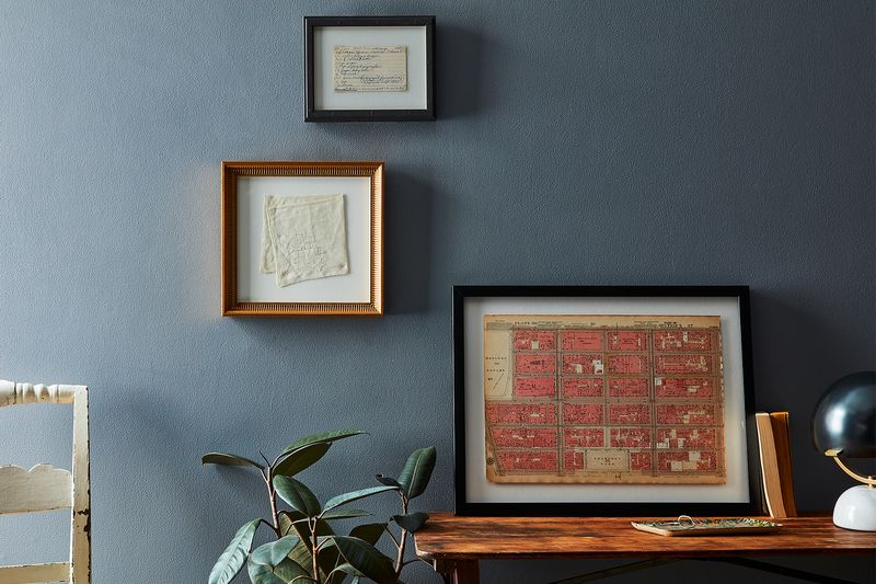 A recipe card, my grandmother's hanky, and a map—all framed by Framebridge.