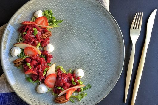 Beet Tartare, Whipped Goat Cheese and Roasted Strawberry & Balsamic Vinaigrette