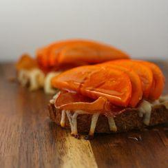 Persimmon and Crispy Bresaola Crostini