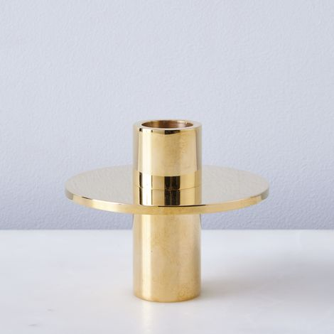 Antipode Solid Brass Candlestick Holder