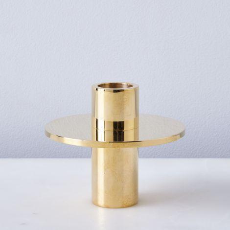 Antipode Solid Brass Candlestick Holder