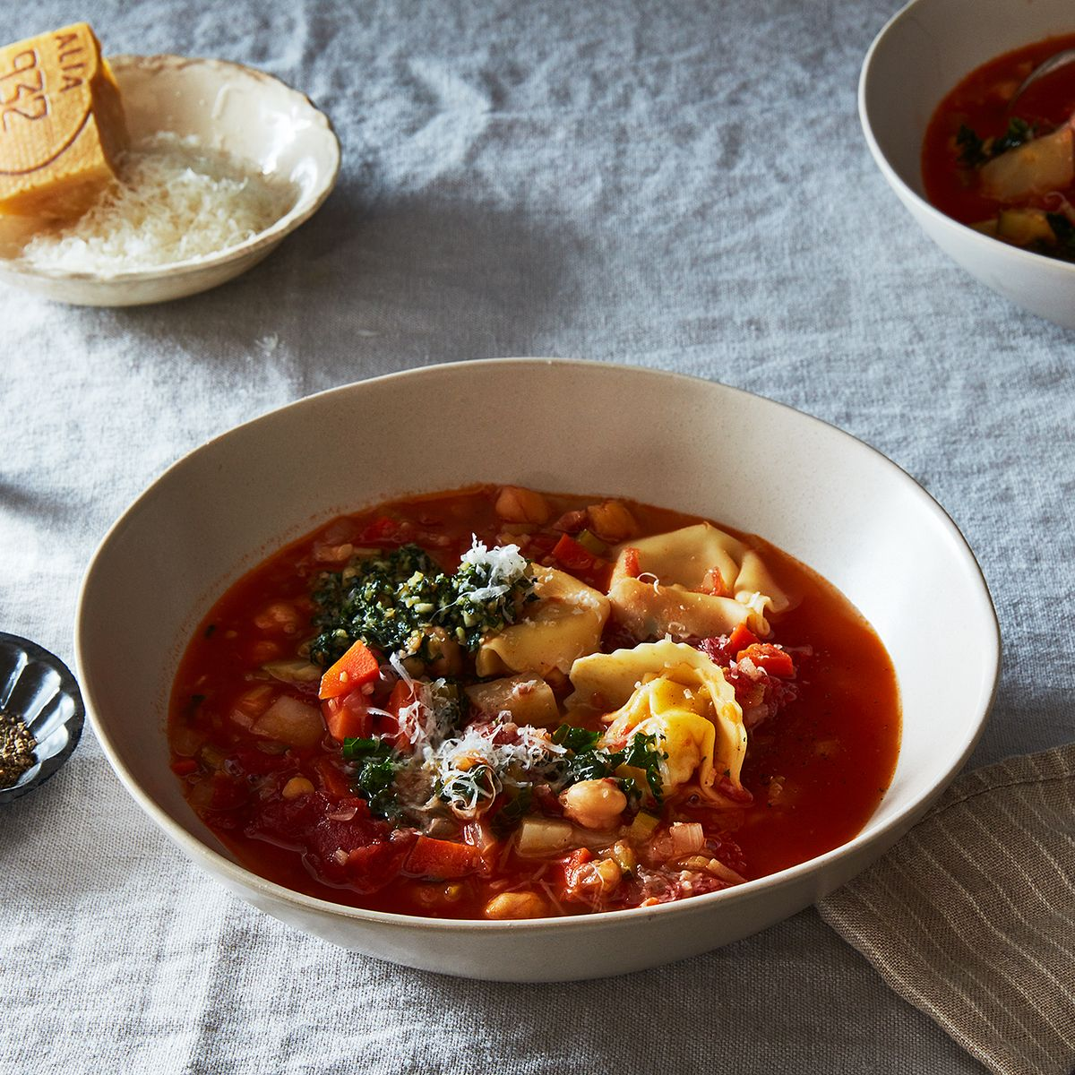 Smoky Minestrone with Tortellini and Parsley or Basil Pesto Recipe ...