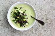 Zucchini, Almond, and Mint Soup with Lemony Lentils
