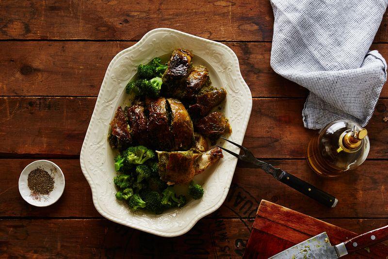 Crispy Roast Chicken (Stuffed Under the Skin with Basil-Garlic Purée)