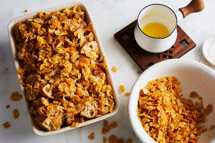 Chrissy Teigen's French Toast Casserole with Salted Frosted Flakes