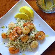 Shrimp, Scallops & Dill Rice with Lemon Mustard Vinaigrette