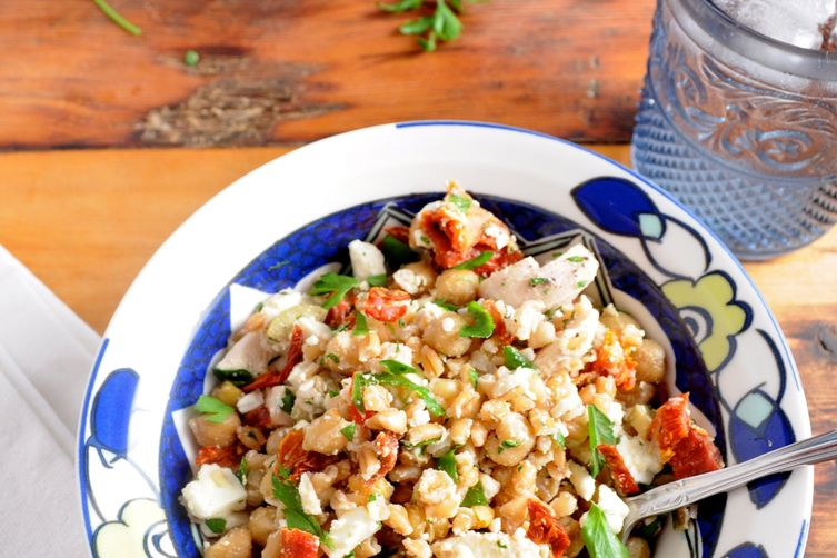 Farro-Chicken Salad with Chick Peas, Feta, and Sun-Dried Tomatoes