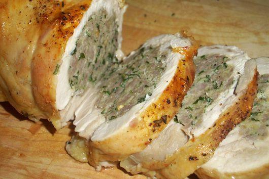 Stuffed deboned chicken roll