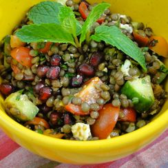 Lentil tabbouleh salad with pomegranates