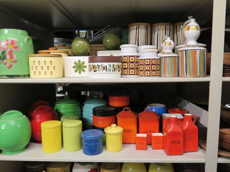 Colorful canisters like these might have been spotted on shows like Rachel Ray's, where a cute, retro sensibility defined the kitchen's look.
