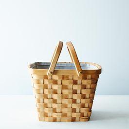 Wood Market Basket with Liner