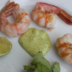 "Last of the Season ""Grilled"" Spot Prawns with Garlic Scape, Cilantro and Lime Aioli"