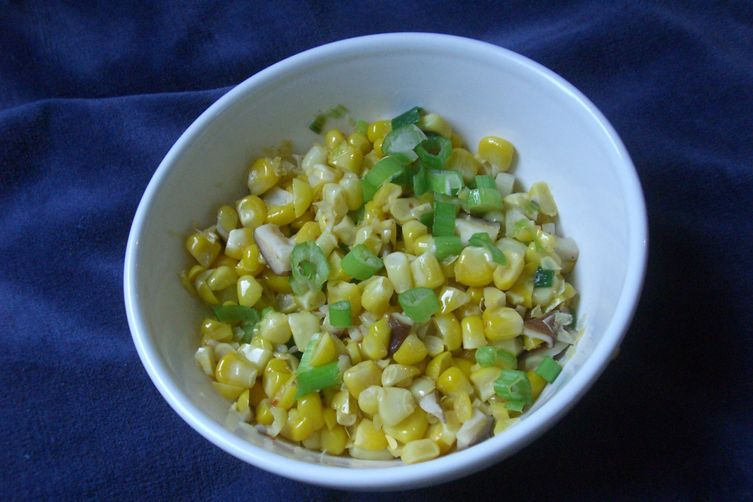 Sauteed Corn, Green Onions, and Shiitake Mushrooms