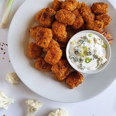 Buffalo Cauliflower Tots with Blue Cheese Dipping Sauce