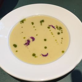 Velvety corn soup with cilantro oil
