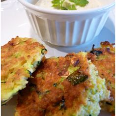 Spicy Zucchini Cakes with Creamy Green Chile Sauce
