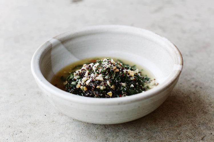 Braised Kale with Black Quinoa