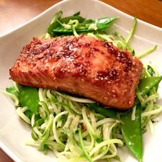 Teriyaki-Ginger Salmon with Sesame Zoodles