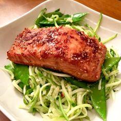 Teriyaki-Ginger Salmon with Sesame Zoodles