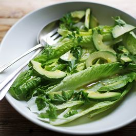 Romaine and Avocado Salad with Anchovy Garlic Vinaigrette