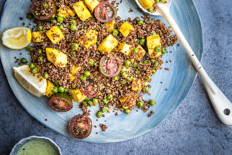 Curried Red Quinoa, Peas and Paneer Salad