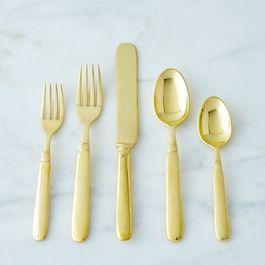 Brass Florentine Flatware (5 Piece Set)