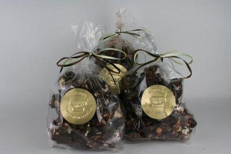 Chocolate Coated Caramel Corn with Cashews, Peanuts, and Coconut