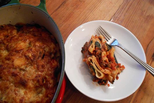 schiaffoni pasta al forno with spinach, mushroom & ricotta