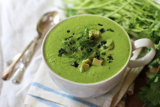 Chilled Avocado, Snap Pea & Parsley Soup