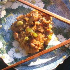 Fusion Sticky Rice with Star Anise Chicken, Shiitake, Edamame, and Sunchokes