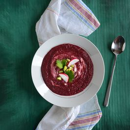 Creamy Coconut & Roasted Beet Soup with Pistachios & Greek Yogurt