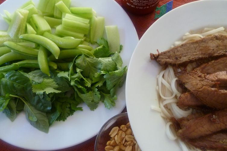 Flank Steak Draped Rice Noodle Salad