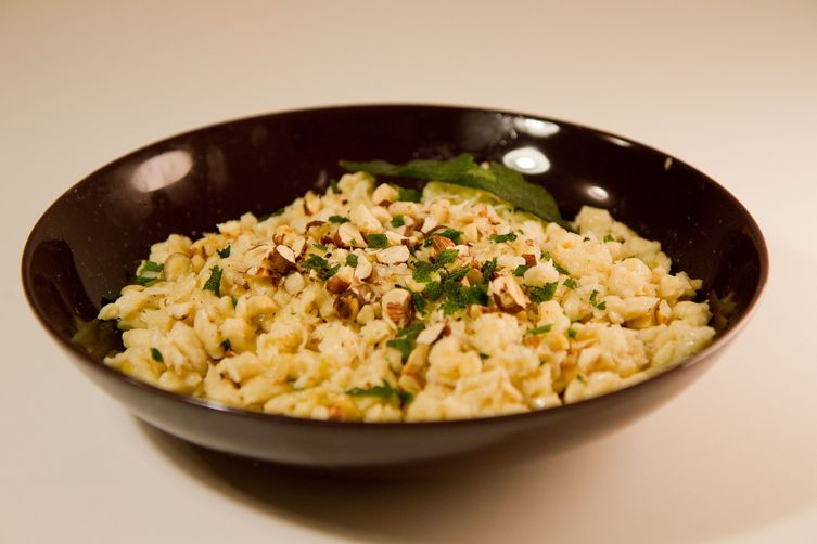 Spätzle with Sage Butter, Parmesan, and Toasted Hazelnuts