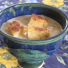 Blushing rhubarb bisque with Challah croutons