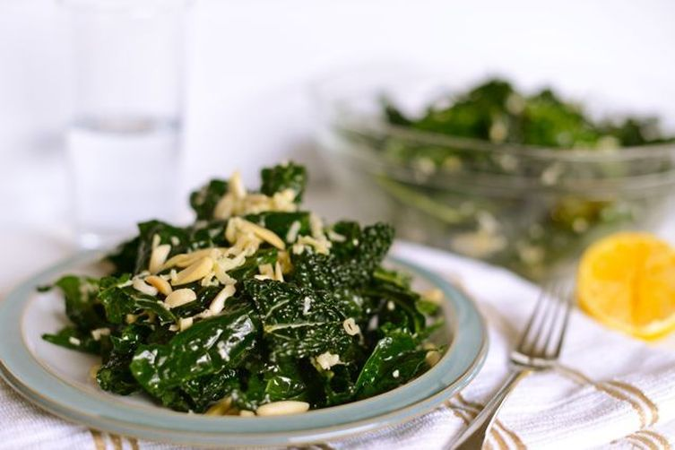 Kale Salad with Lemon, Almonds, and Nordic Cheese