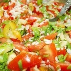 Whole Grain Brown Rice Salad with Lemon-Saffron Dressing.