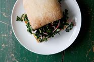 Avocado and Marinated Kale Salad Sandwich