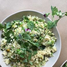 Couscous with Peas, Leeks, Haloumi, Pistachios & Fresh Herbs