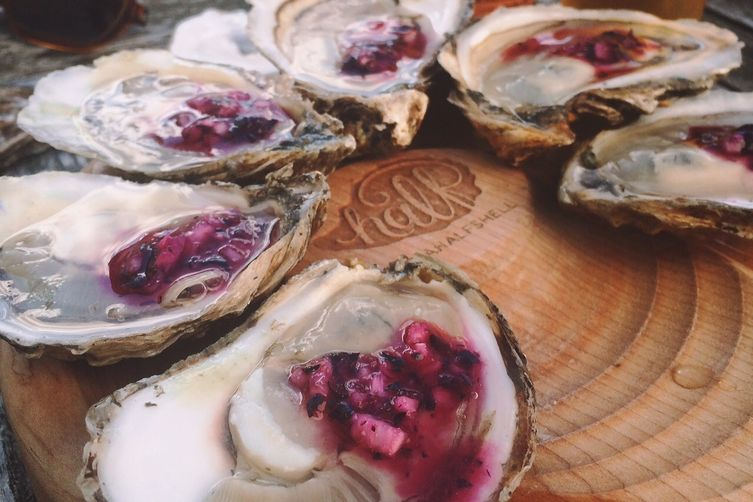 Oysters with Blueberry Mignonette