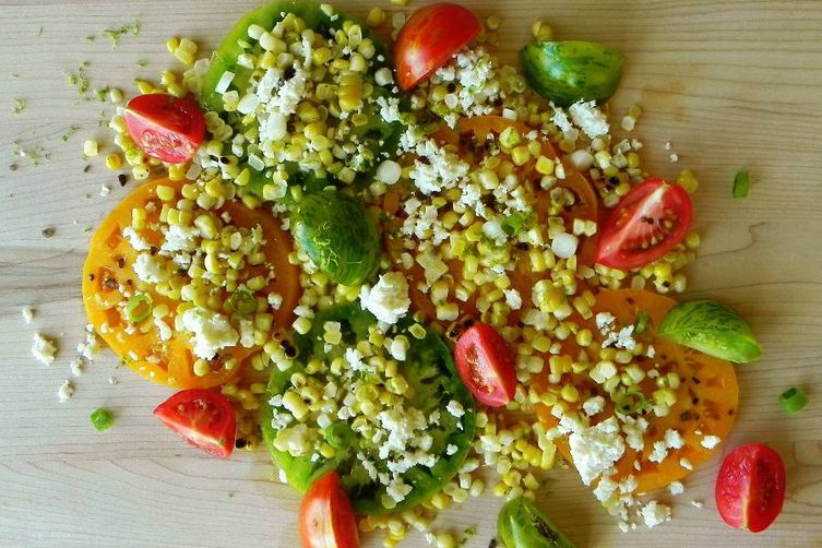 Tomato and Grilled Corn Salad with Smoked Salt
