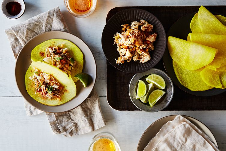 "Crab & Cantaloupe Tacos with Pickled Jicama ""Tortillas"""
